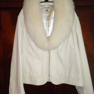 Ivory Leather Jacket Detachable Fox Fur Collar